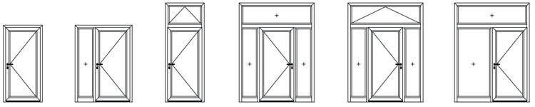 Einflügelige Tür-Elemente aus Aluminium heroal D 72