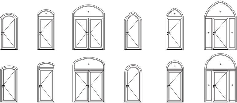 Formelemente für Alu-Türen heroal D 72, ein- und zweiflügelig