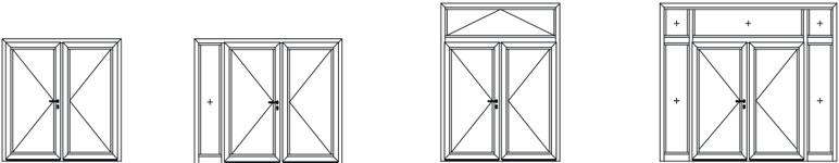 Zweiflügelige Aluminium-Tür-Elemente heroal D 72