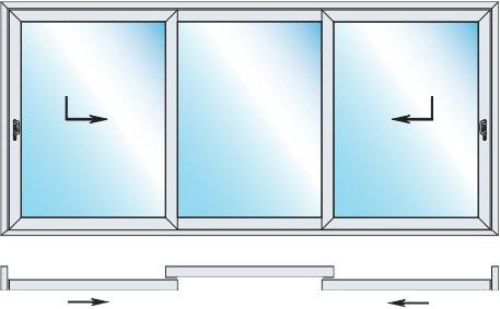 Schiebetür 3-flügelig Durchgang außen